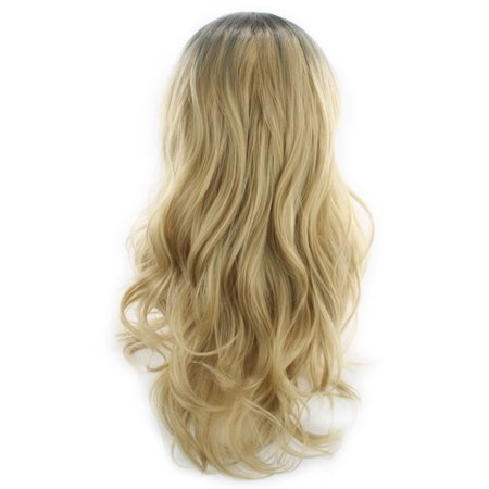 Women Fashion Hairstyle Gradient Color Black to Gold Wave Curls Long Curly Hair Wig Wavy Synthetic Hair Cosplay Party Wigs with Hair (Wedding Party Hairstyles For Medium Length Hair)
