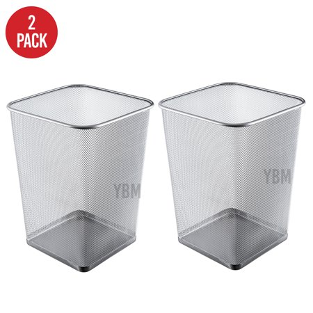 Ybm Home Steel Silver Mesh Square Open Top Waste Basket Wire Bin Trash Can for Office Kitchen Bathroom Home 5 Gallon 2 Pack Square Waste Basket