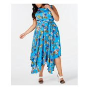CALVIN KLEIN Womens Blue Floral Sleeveless Jewel Neck Midi Sheath Dress  Size: 16W