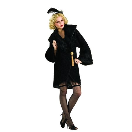 Black Adult Flapper Feather Costume - Feathered Headpiece