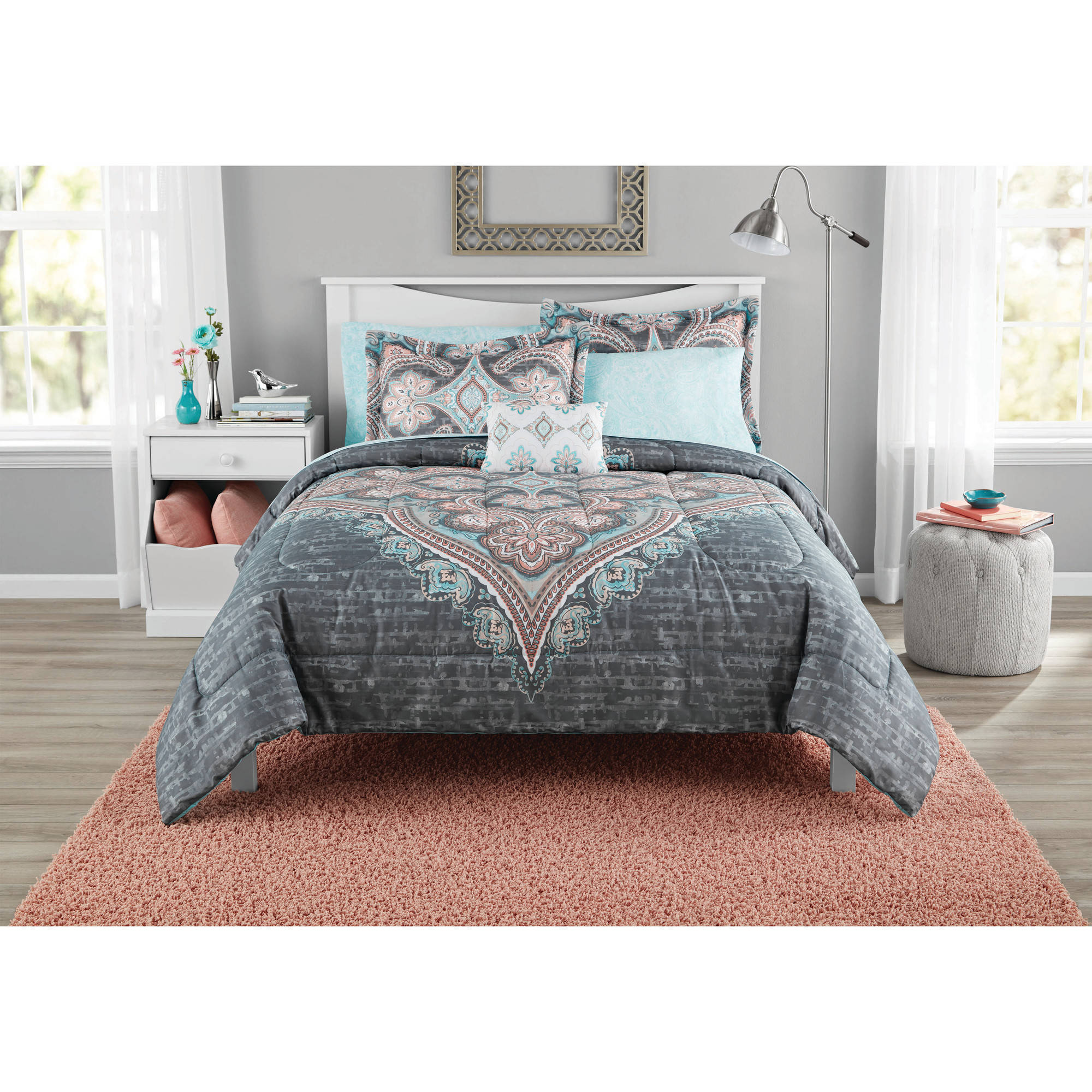 Mainstays Bed in a Bag Global Diamond Comforter Set, 6 Piece