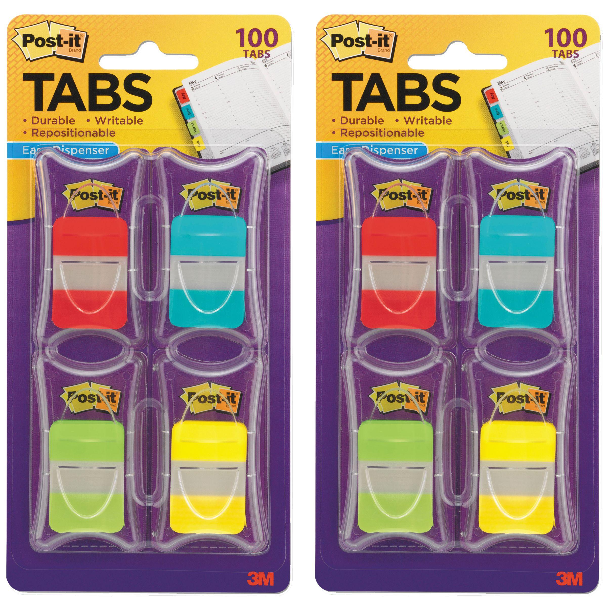 Post-it Tabs, 1 in. Solid, Asst Colors, 25/Color, 25/Dispenser, 4 Dispenser/Pack