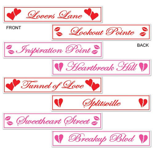 The Beistle Company 4 Piece Valentine Street Sign Standup Set (Set of 3)
