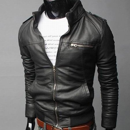 Solid Color Long Section Windproof PU Leather Coat Outwear for Men for Winter - image 4 of 4