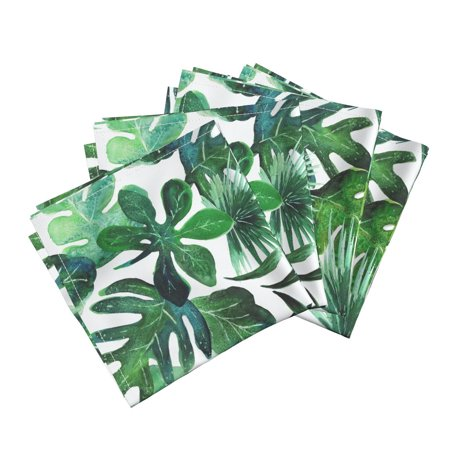 Monstera Palm Jungle Baby Botanical Cotton Dinner Napkins by Roostery Set of 4