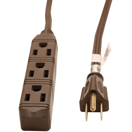 GE 3-Outlet Grounded Office Cord, 8'
