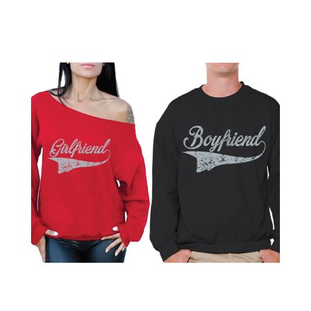 Awkward Styles Boyfriend and Girlfriend Couple Sweatshirts Vintage Sweaters for Couples Girlfriend Off the Shoulder Sweatshirt Boyfriend Sweater Happy Valentines Day Cute Matching Couple Sweaters