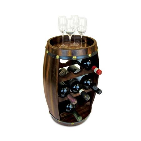 Wine Décor - Alexander - 8 Bottles Wooden Holder - Barrel Shape (Wooden Barrel Wine Rack)