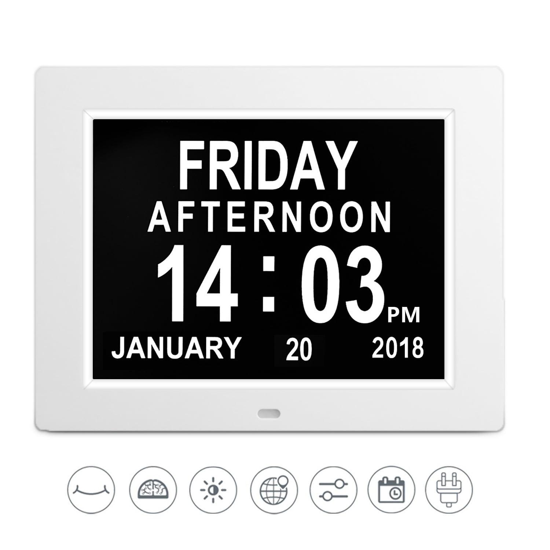 Day Clock Digital Led Wall Clock Calendar Alarm Clock 8 Extra Large