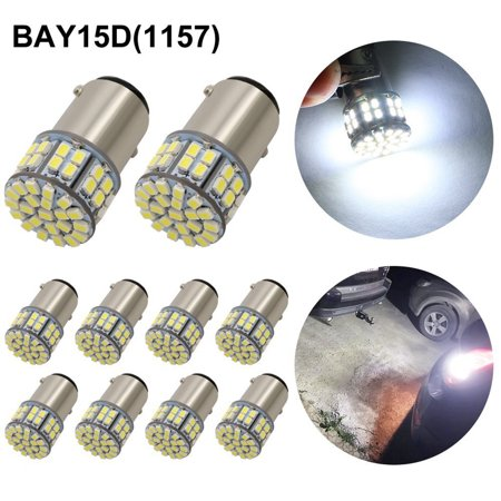 10x Super Bright White 1157 50-SMD 6000K~6500K LED Light Bulbs Tail Brake Stop Backup Reverse 12v 1152 1206 1156 Led 12v Bulb