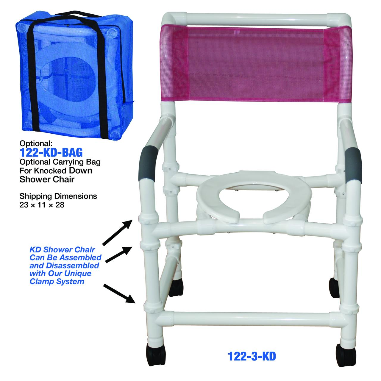 MJM International 122-3TW-KD Knockdown Wide Deluxe Shower Chair