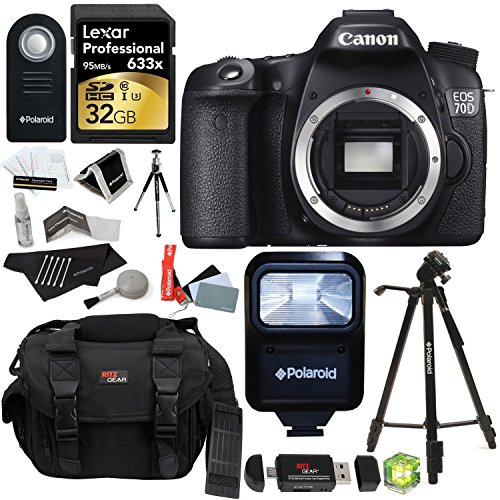 Canon EOS 70D 20.2 MP Digital SLR Camera with Dual Pixel CMOS AF Full HD 1080p Video (Body Only) + Lexar 32 GB SDHC + Po by Ritz Camera