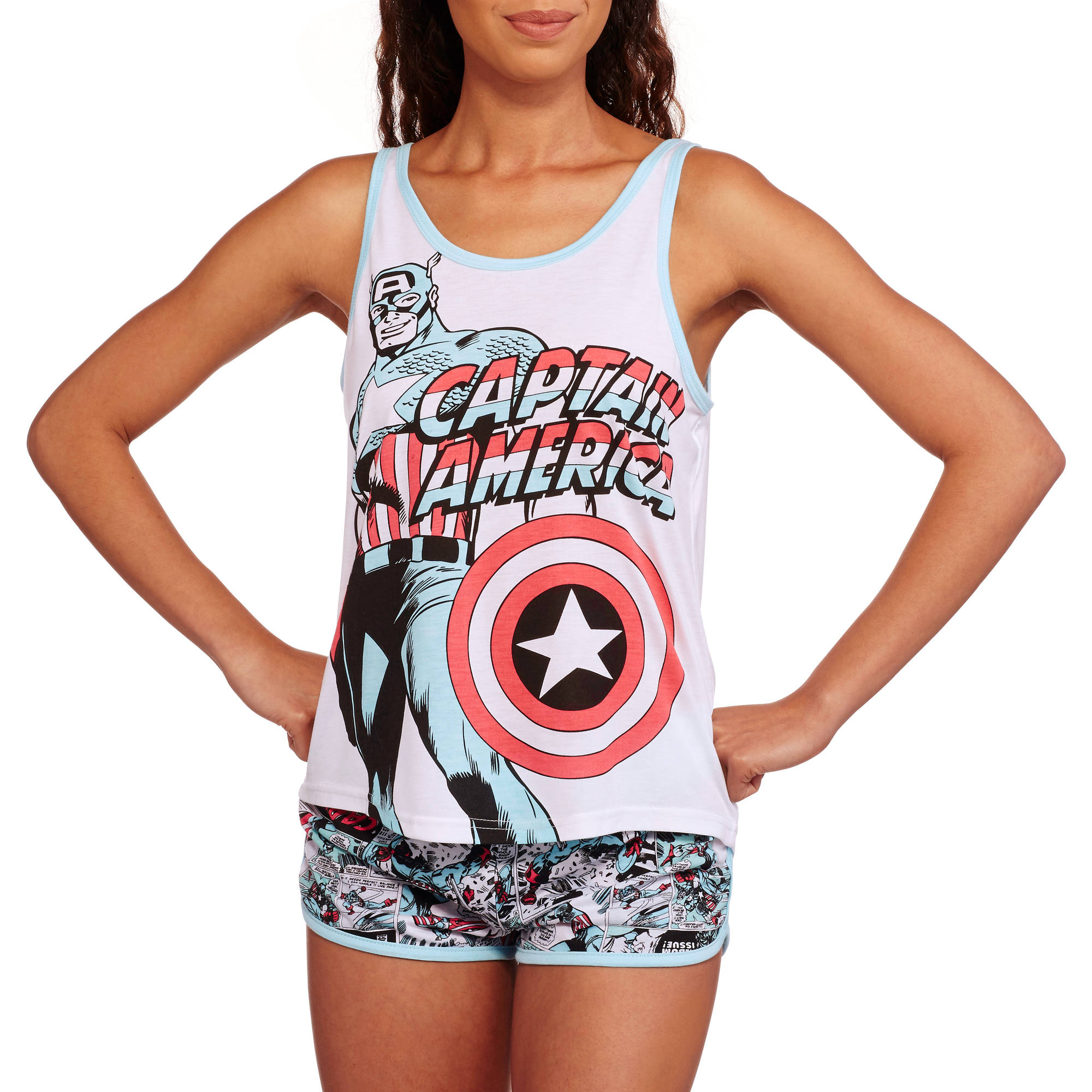 Marvel Heroes Junior License Sleep Tank and Boxer Short 2 Piece Pajama Set
