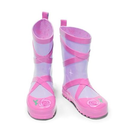 Kidorable Little Girls Pink Ballerina Slipper Rubber Rain Boots 5-10 Toddler