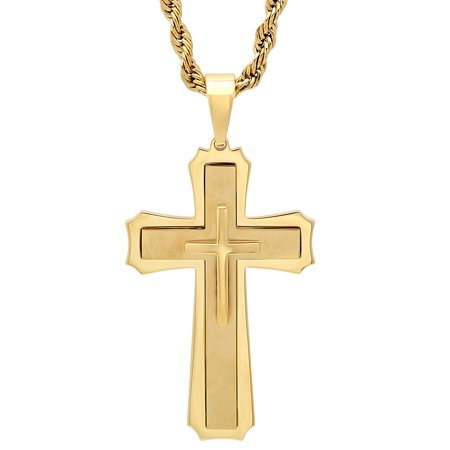 Men's Gold-Tone Stainless Steel Stacked Cross - Mens Pendant Necklace Chain