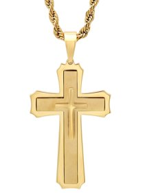 ad4b8565a7b Men s Gold-Tone Stainless Steel Stacked Cross with 24