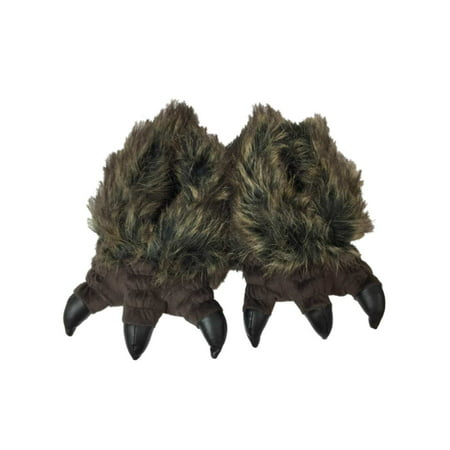 Boys Plush Dark Brown Monster Slippers Faux Fur Bear Paw Claw House