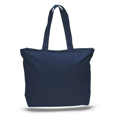 (3 Pack) Set of 3 Heavy Canvas Large Tote Bag with Zippered Closure (Navy)