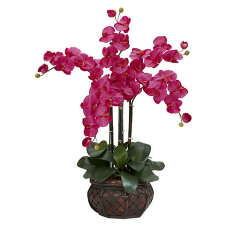 Nearly Natural Phalaenopsis with Decorative Vase Silk Flower Arrangement, Dark Pink
