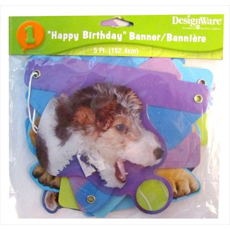 Puppy Party 5ft Happy Birthday Banner (1ct)