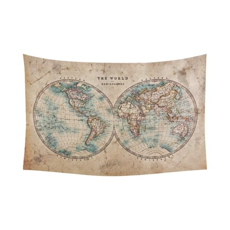 PHFZK Global Map Wall Art Home Decor, Vintage Retro Style Old World Map from 1800s for Geography and History Print Tapestry Wall Hanging 60 X 90 Inches - Old World Style Wall