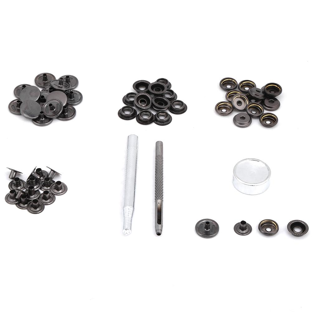 Metal Press Stud Snap Button Fastener For DIY Leather Clothes Jacket Repair Kit