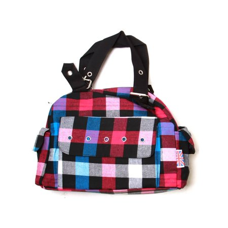 Clover Tote Pockets Style Hand Bag Checkered Multicolored With Britain Flag Tag