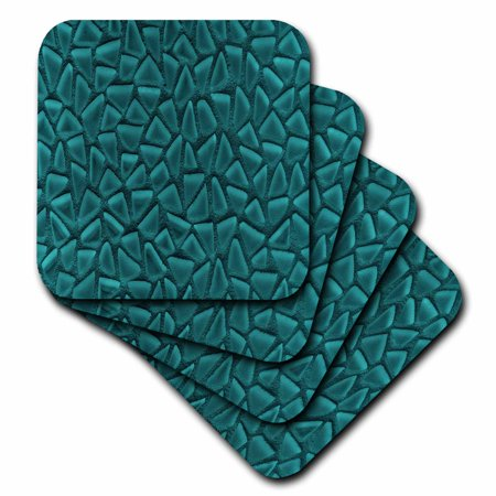 3dRose Teal Triangle Glass Mosaic Look - One Dimensional Design, Soft Coasters, set of 8 (Teal Coasters)