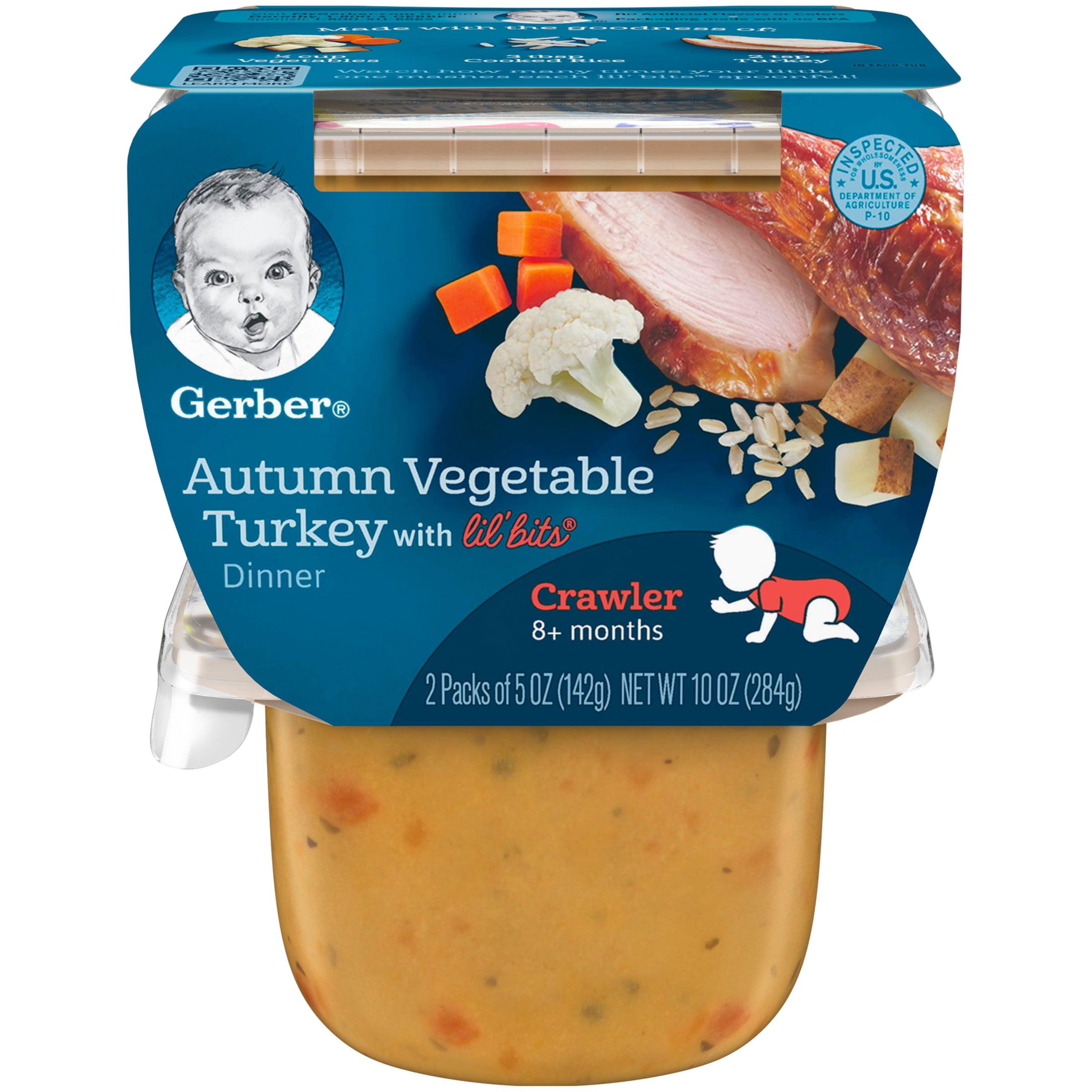 Gerber 3rd Foods Lil' Bits Autumn Vegetable & Turkey Dinner Baby Food, 5 oz. Tubs, 2 Count (Pack of... by Gerber