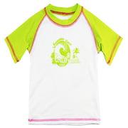 Pink Platinum Girls Short Sleeve Surf Rashguard Top Beach Swim Tee Shirt