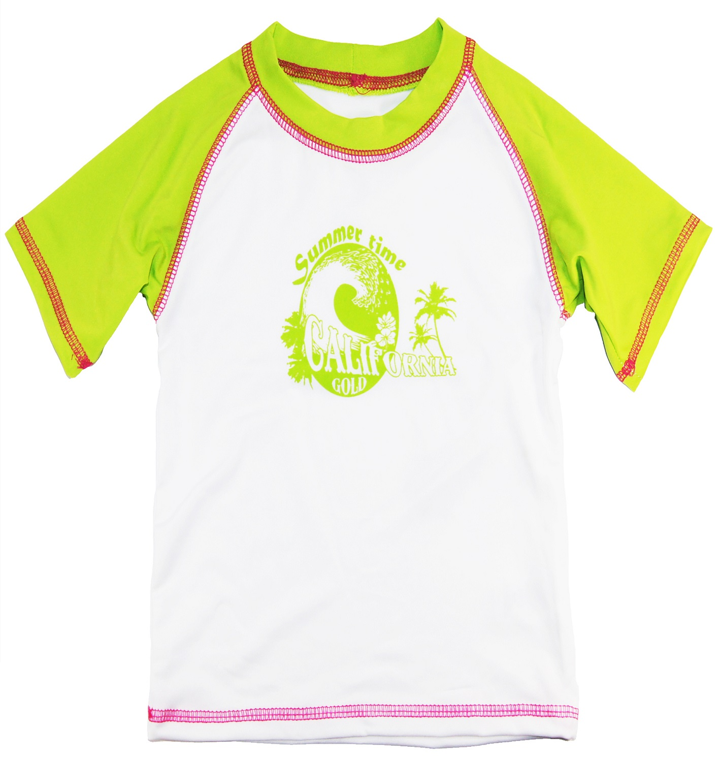 Pink Platinum Girls Short Sleeve Surf Rashguard Top Beach Swim Tee Shirt