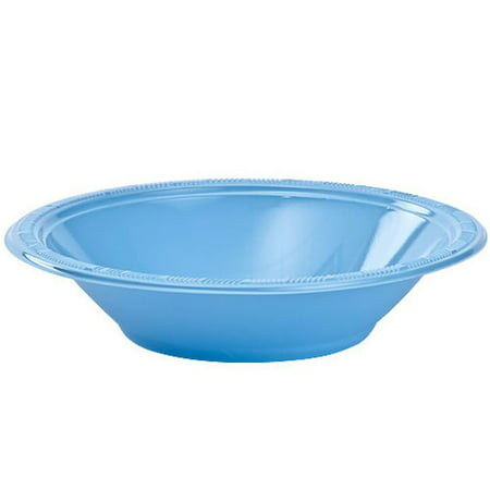 Exquisite Disposable Plastic Bowls - 40 Piece Party Pack - Plastic Soup Bowls, 12 Oz, Light Blue ()