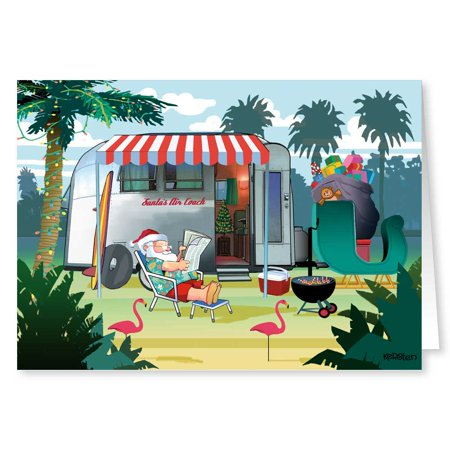 Relaxing in Warm Weather - Santas Camper - Christmas Card - 18 Cards/ 19 Envelopes