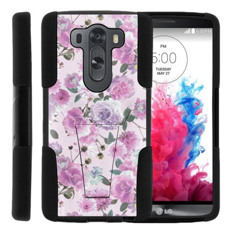 LG V10 and LG G4 Pro STRIKE IMPACT Dual Layer Shock Absorbing Case with Built-In Kickstand - Pink Purple Flower