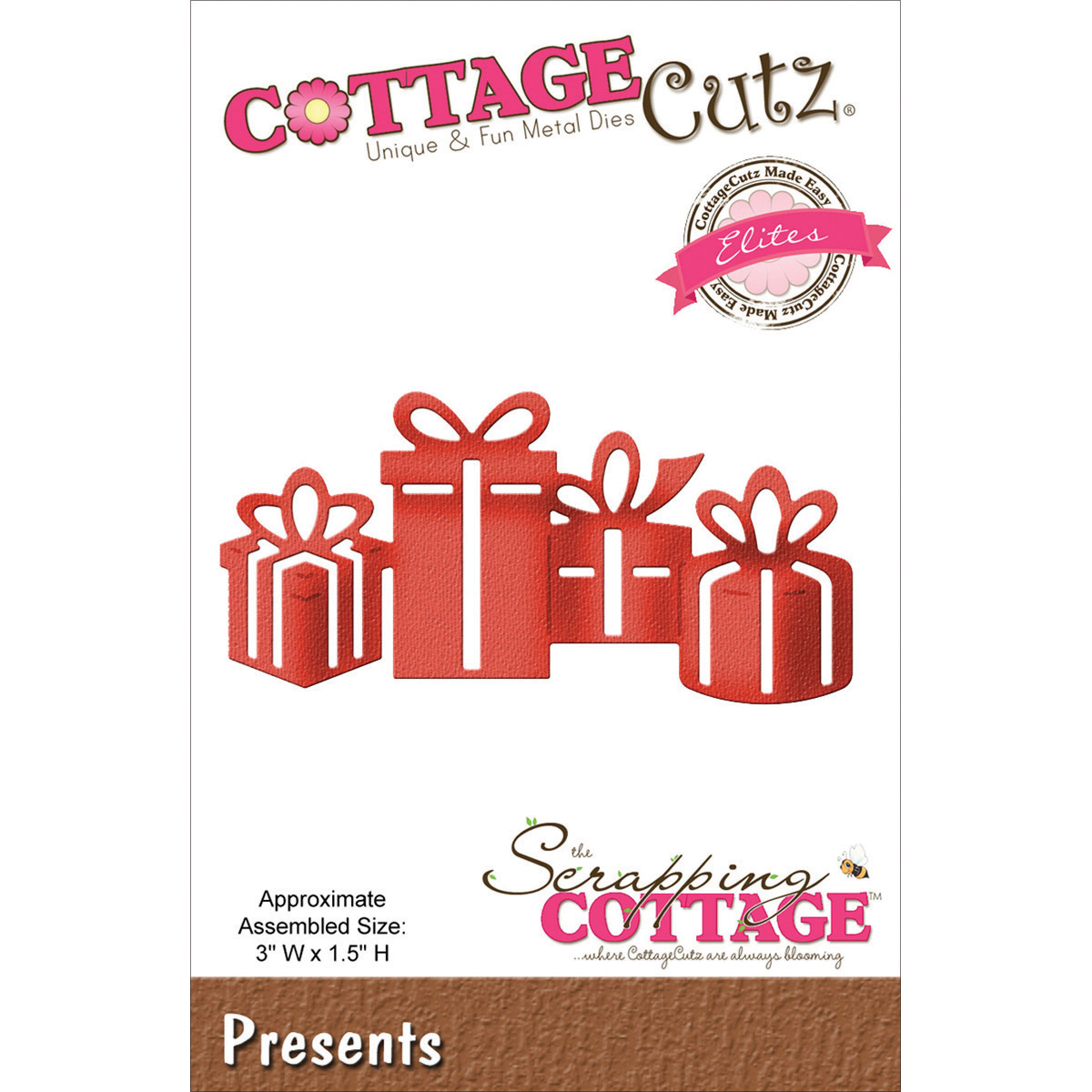 "CottageCutz Elites Die -Presents 3""X1.5"""