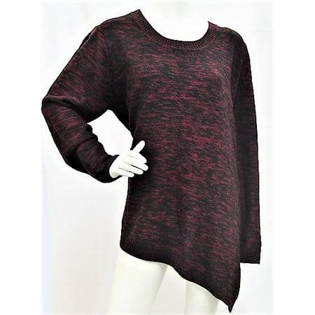 K. Jordan Women's Marled Asymmetrical Sweater in Wine - (Best Wine For Ladies Skin)