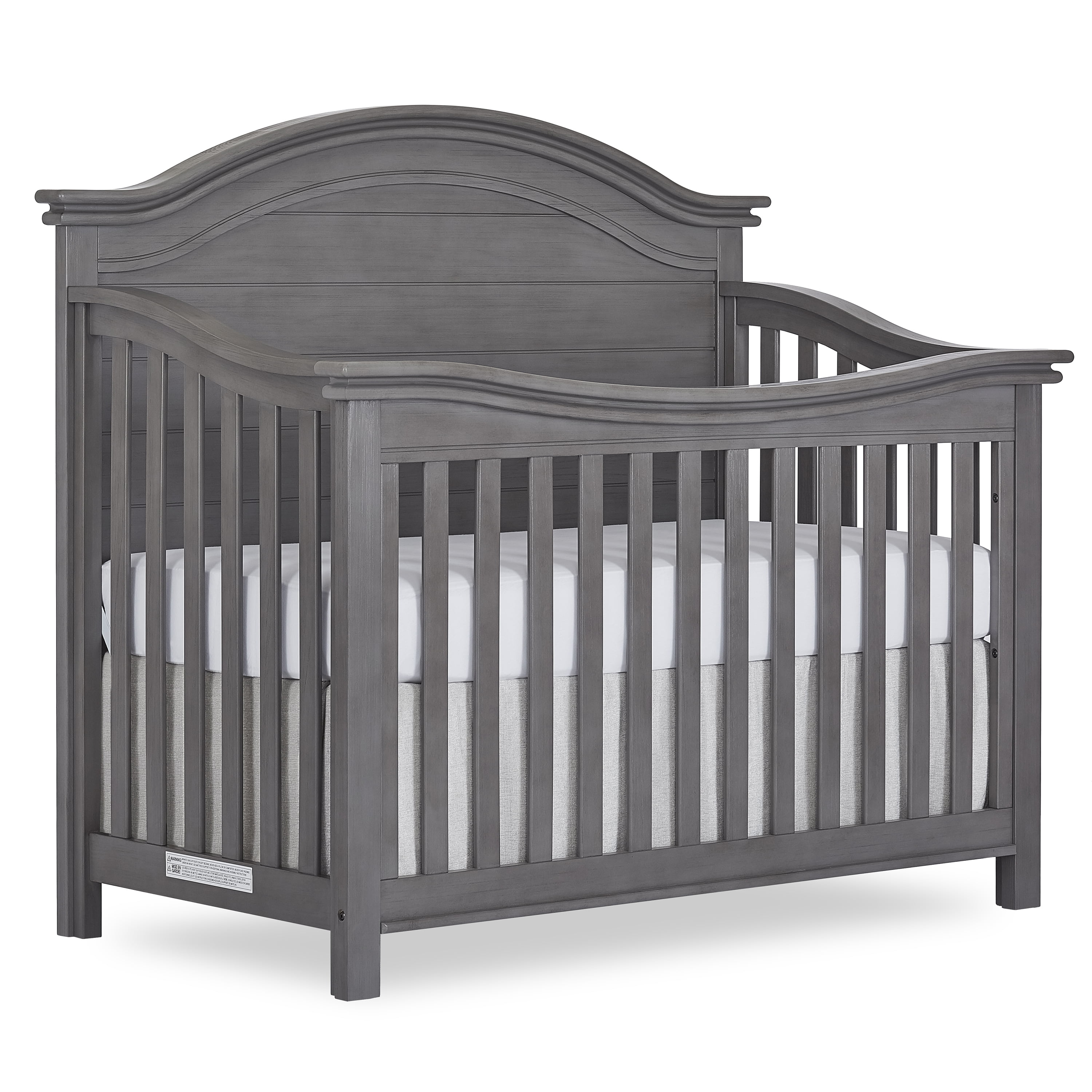 Evolur Belmar Curve 5 in 1 Convertible Crib Rustic Grey by Evolur