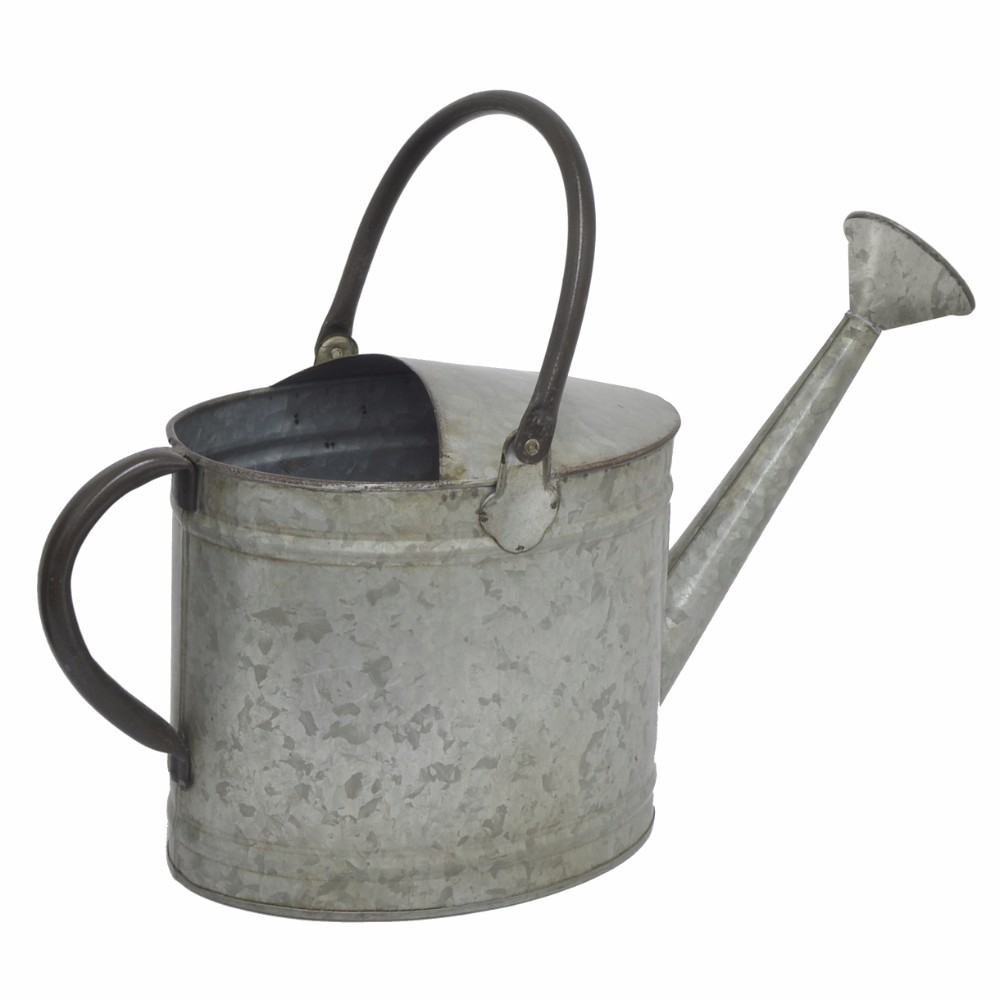 39494 Galvanized Metal Watering Can with 2 Handles Benzara by