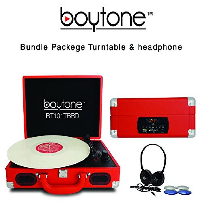 Boytone Bundle Package BT-101TBRD Turntable Briefcase Record player with headphone, AC-DC Built in Rechargeable Battery, 2 Speakers, 3 Speed, LCD Display, FM Radio, USB/SD Slot, AUX, 110 To 220 Volt