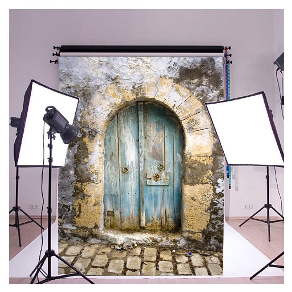 GreenDecor Polyster 7x5ft 3D Retro Cement Wall Blue Door Fan-shaped Door Brick Floor Backdrop Background Ideal for Studio Photo Backgrounds,