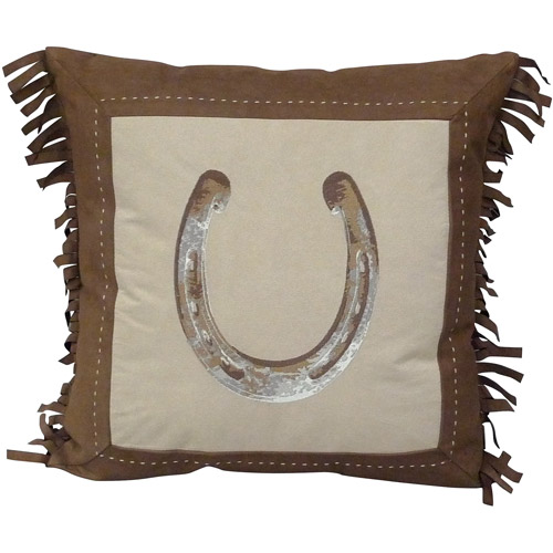 Better Homes and Gardens Faux Suede Horseshoe Decorative Pillow with Fringe, Chocolate