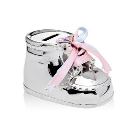 Nickel Plated Baby Kids Shoe Money Savings Coin Piggy Bank With Pink And Blue Laces
