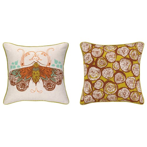 Sarah Watts Moth Reversible Printed and Embroidered Throw Pillow