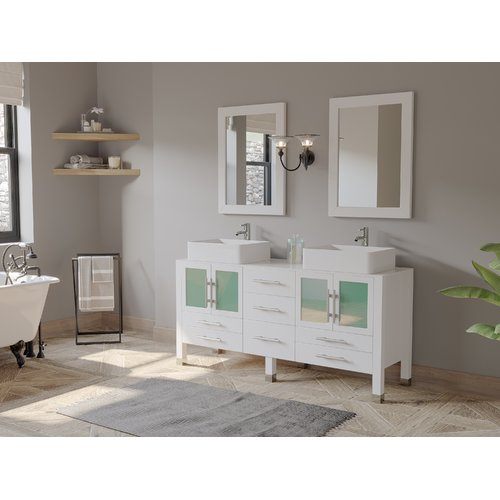 Cambridge Plumbing Emerald 65u0027u0027 Double Bathroom Vanity Set With Mirror