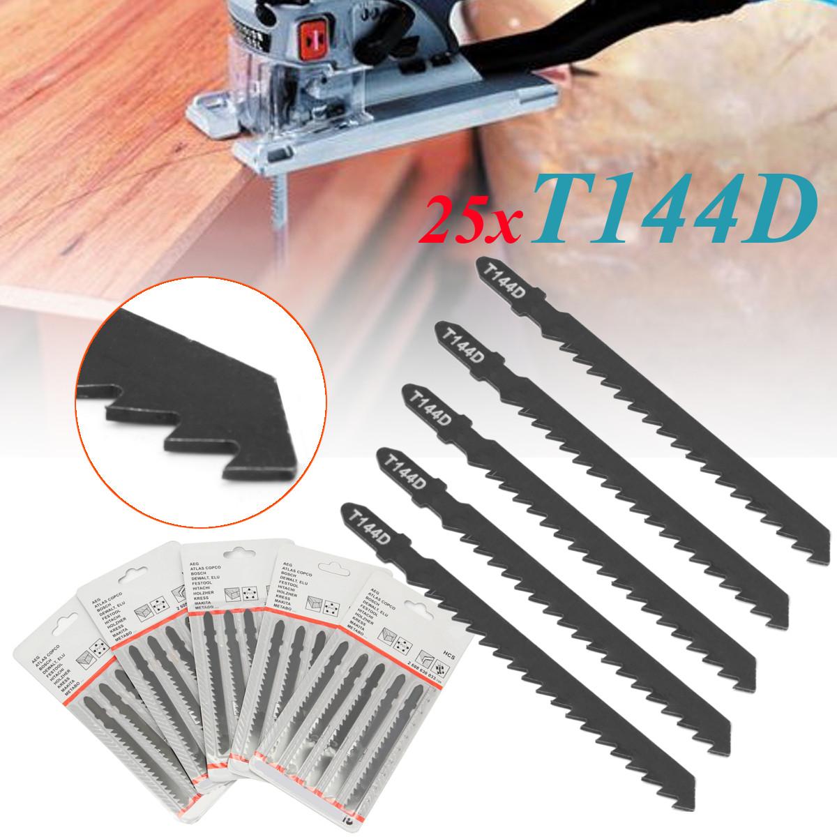 25Pcs T144D Hard Wood Curve Cut Jigsaw Sabre Saw Blade Serrate Stainless Black
