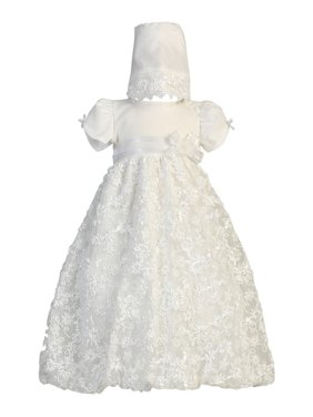 6daadb7ded2 Product Image Baby Girls White Embroidered Satin Ribbon Tulle Dress Bonnet  Baptism 12-18M. Sophias Style
