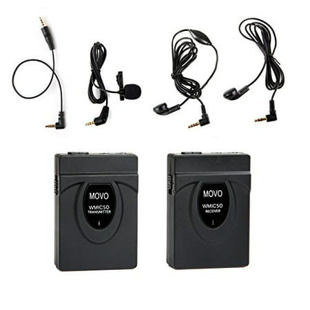 Movo 2.4GHz Wireless Lavalier Microphone System (164' Range) for Canon EOS 1D-X MK I&II, 5D MK I, II, III, 5DS R, 6D, 7D MK I+II, 60D, 70D, 80D, Digital Rebel T6S, T6i, T5i, T4i, T3i, T2i DSLR