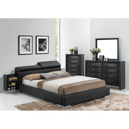 ACME Manjot Queen Bed with Storage in Black Faux Leather, Multiple Sizes