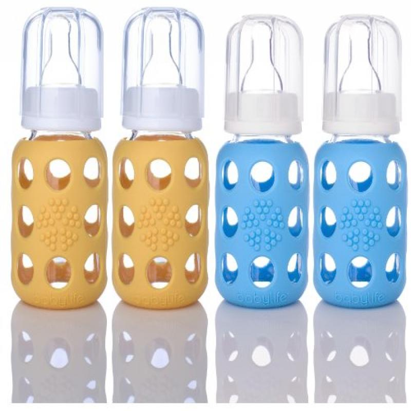 Lifefactory Glass Baby Bottles 4 Pack (4 oz. in Sky Blue / Yellow)