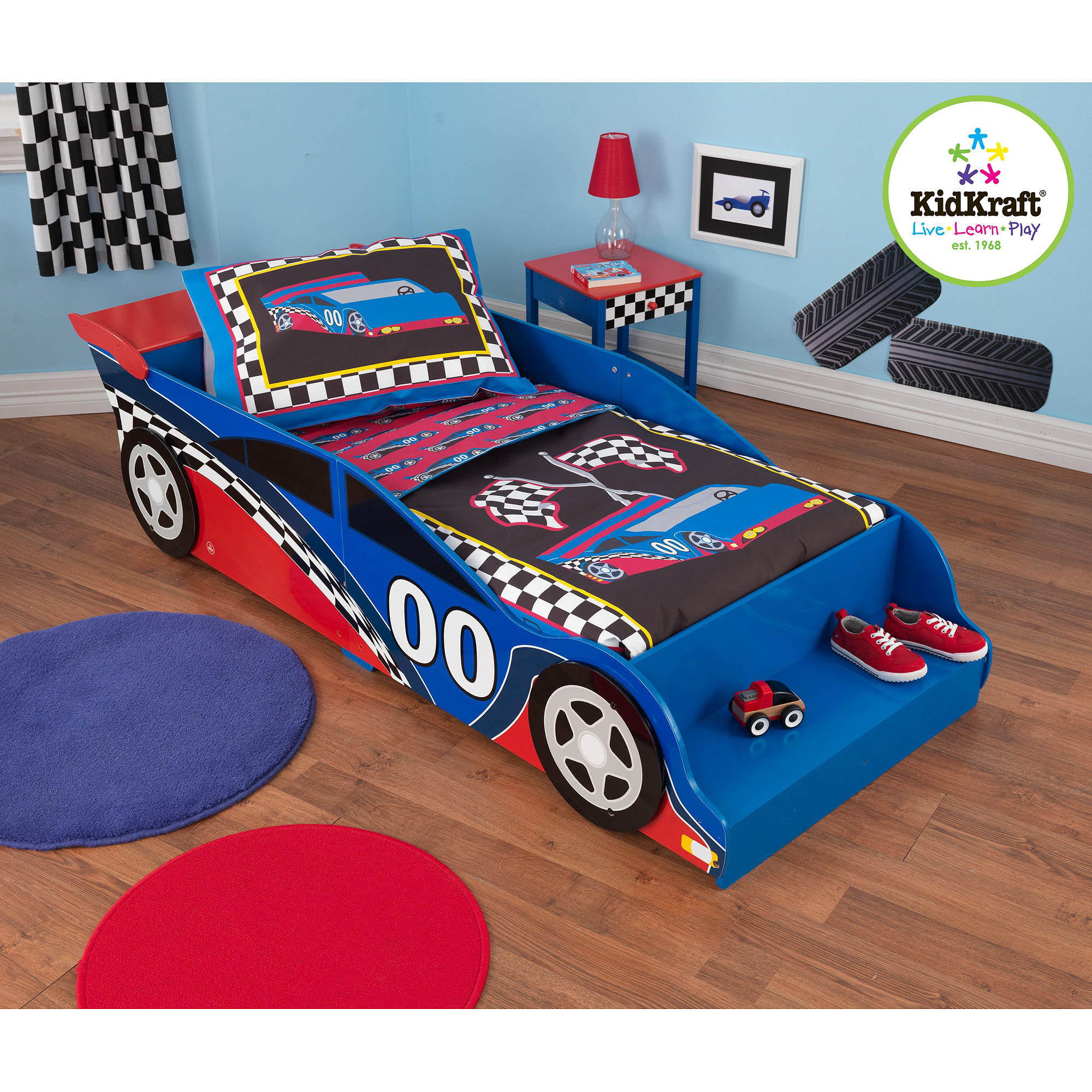 KidKraft Racecar 4-Piece Toddler Bedding Set